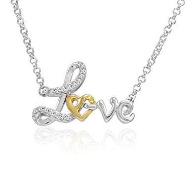 Amazon sterling silver and 14k gold heart in love diamond sterling silver and 14k gold heart in love diamond necklace 110ct tw 17 aloadofball Choice Image