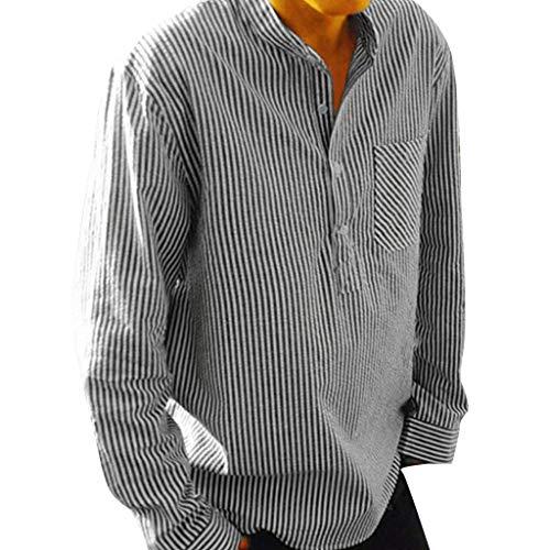 Men's Striped Cotton Linen Shirt Long Sleeve Button Down T Shirt Slim Fit Work Top (XL, Black)