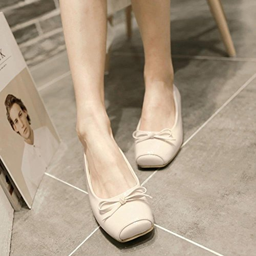 COOLCEPT Mujer sin Cordones Plano Chicas Ballet Dolly Bombas Zapatos con Bowknot Extra Tamano Beige