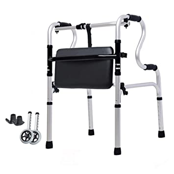 Amazon.com - Adjustable Height Walker with Wheels and Seat ...