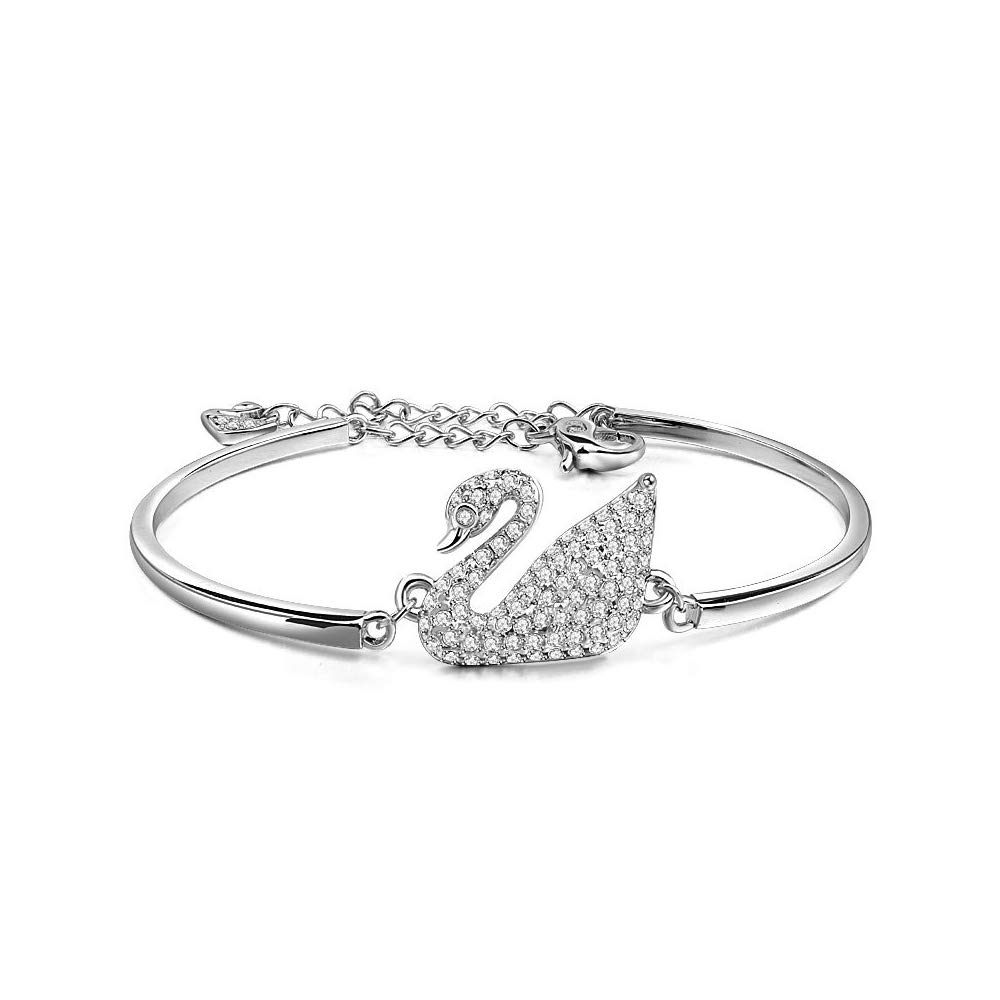 Therina Swan Bracelet Platinum Plated Bangle Embellished with Crystals from Swarovski