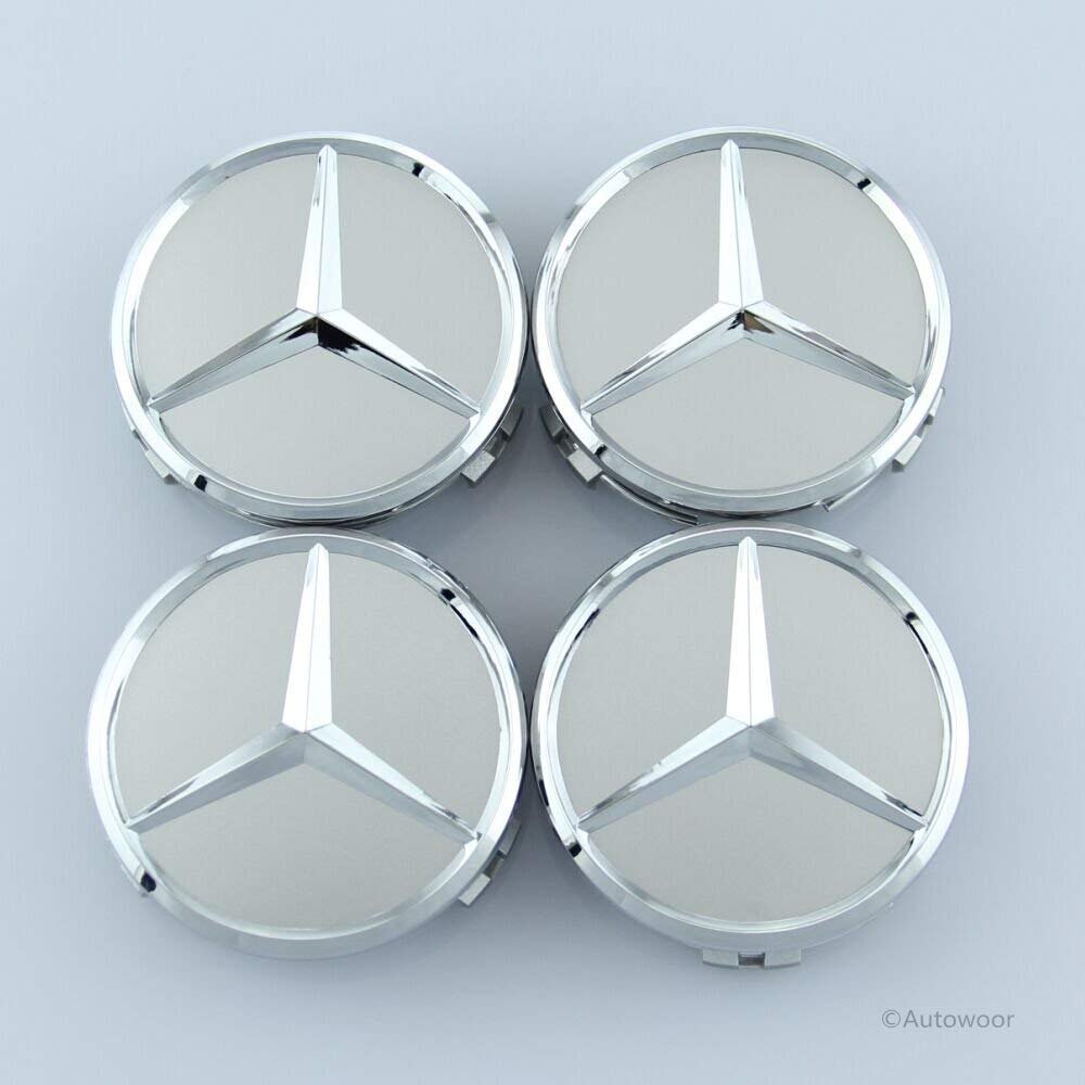 Autowoor Silver Wheel Center Hub Caps Mercedes Benz,75mm/3 Inch Fit for Mercedes Benz All Models with (4 pcs) by Autowoor