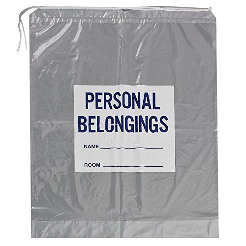 Action Health PBB20244 Drawstring Patient Belonging Bags, Clear with Blue Print, 20W x 20H (Pack of 250)