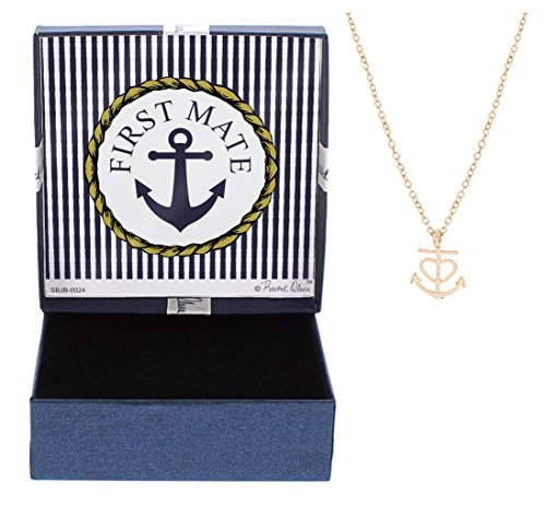 Mother's Day Gifts First Mate Nautical Jewelry Heart Anchor Necklace Fashion Rose Gold-Tone Cable Chain Necklace Jewelry Box Keepsake Gift Boating Anniversary Gift for - For Dummies Wrapping Gift