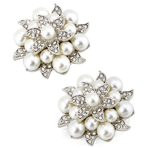 ElegantPark AE Fashion Rhinestones Ivory Pearls Wedding Party Sliver Shoe Clips 2 Pcs