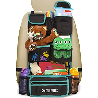 Car Organizer for Back Seat   Eco-Friendly & Strong   Kick Mat Protects Backseat   FREE Visor Organizer   Storage for Toys, Travel Accessories, Tablet   Baby Shower Gift Box by COZY GREENS that we recomend individually.