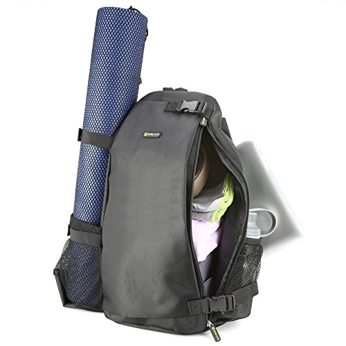 Evecase Yoga Sport Multi Purpose Crossbody Sling Bag BackPack Fits Most Large Yoga Mats For Gym, Hot Yoga, pilates, Workout, Sport, Beach, Travel, Hiking and More - Black