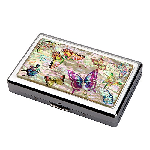 Mother of Pearl Colorful Butterfly Design Extra Long 100S Super Slim King Size 16 Cigarette Engraved Metal Steel RFID Blocking Protection Credit Business Card US Bill Cash Holder Case Storage (Pattern Cigarette Case)