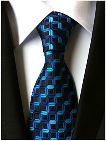 MINDENG New Men's Dark Blue Stripes Silver 100% Silk Necktie Classic Striped Tie
