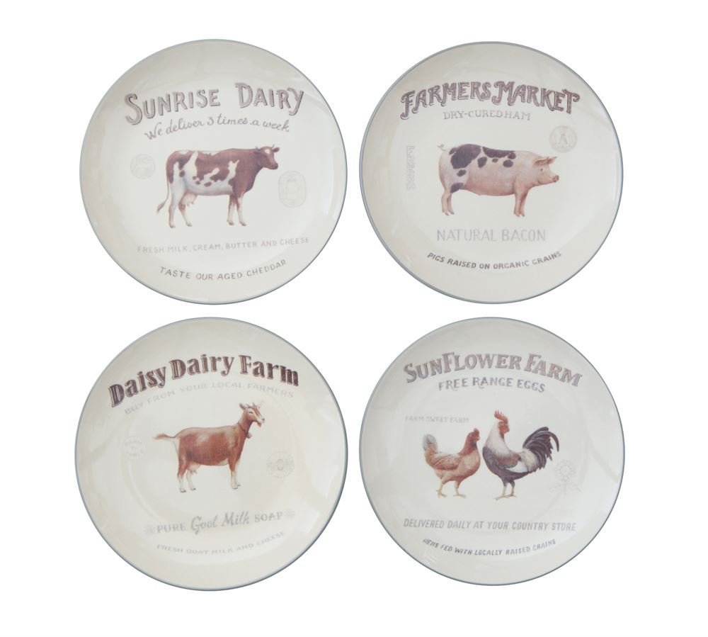 Creative Co-Op Set Of 4 Farm Animal Plate Designs 8-1/2'' Round Stoneware
