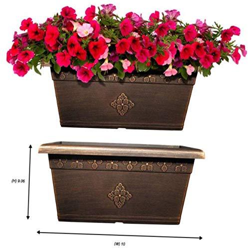 GEA New Large Copper Plastic Planters Garden Flower Pots & Window Box Porch Yard - RK215 (20 X 10'' Window Box)