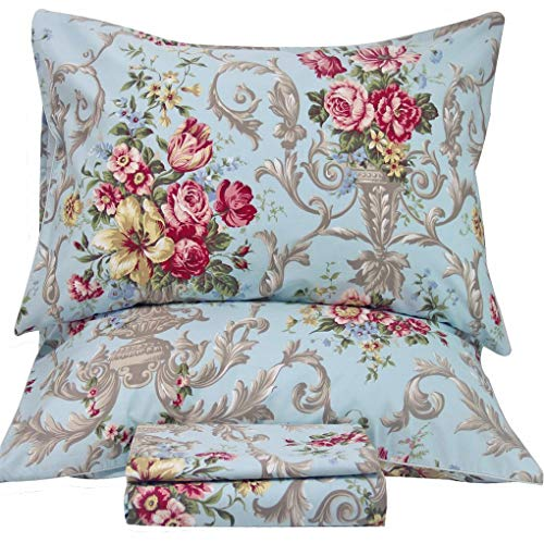 Queen's House Shabby Peony Printed Bed Sheets King Deep Pocket-T