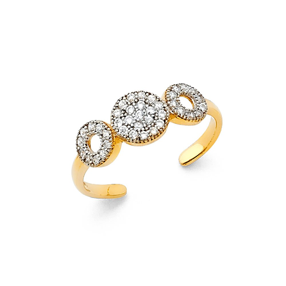 Ioka - 14K Yellow Solid Gold Fancy CZ Tri Circle Toe Ring - Size 4 by Ioka