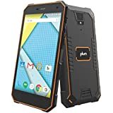 "Plum Gator 4 - Rugged Smart Cell Phone Unlocked Android 4G GSM 13 MP Camera 5"" HD Display IP68 Military Grade Water Shock Proof 5000 mAh - Black/Org"