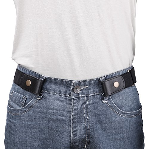 No Buckle/Show Belt for Men Buckle Free Stretch Belt for Jeans Pants 1.38