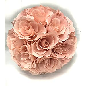Ben Collection Fabric Artificial Flowers Silk Rose Pomander Wedding Party Home Decoration Kissing Ball Trendy Color Simulation Flower (Blush Pink, 25cm) 103