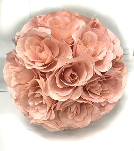 Ben Collection Fabric Artificial Flowers Silk Rose Pomander Wedding Party Home Decoration Kissing Ball Trendy Color Simulation Flower (Blush Pink, 25cm)]()