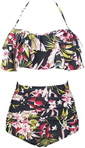 COCOSHIP Womens Flounce Falbala Swimsuit