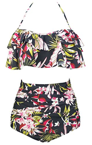 COCOSHIP Black & GreenYellow Pink Lush Curacao Floral Boho Flounce Falbala High Waist Bikini Set Chic Swimsuit Bathing Suit XL]()