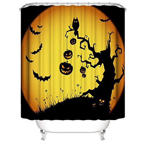 Muuyi Halloween Decorations Collection, Owl Bat Tree Design All Saints Day Pumpkin Day Image, Polyester Fabric Bathroom Shower Curtain Set with Hooks - 72×72 Inches