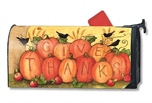 MailWraps Give Thanks Scarecrow Mailbox Cover #01212 by MailWraps
