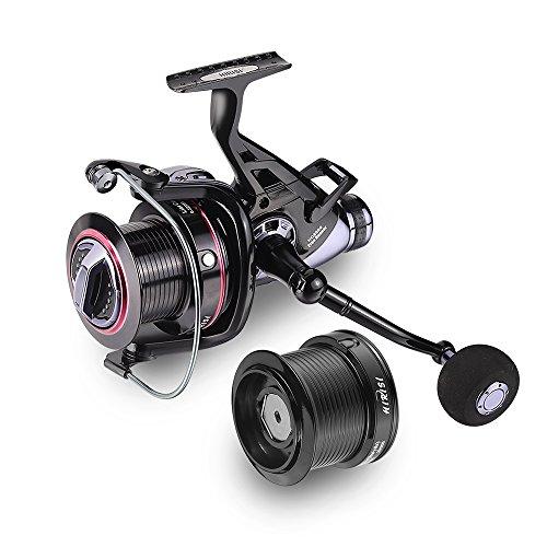 Karpfen der Fischerei Rollen Big Pit Baitrunner Double Bremse 10 + 1 Kugellager Spinning Fishing Reel HQ8000