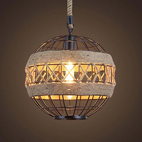 Onfly Retro Rope Iron Round Single Head Chandeliers Personality Globe Shape Pendant Lamp Restaurant/cafe/clothing Deco Hanging Lamp(without Bulb) (Color : 400mm)