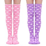 Littleforbig Cute Coral Fleece Thigh High Long Dotted Socks 2 Pairs