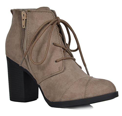 TOETOS Damen Chicago Chunky Heel Ankle Booties Taupe Wildleder-5