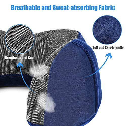Widuc Travel Pillow Memory Foam Neck Pillow, Upgrade Design Perfect Support Machine Washable Airplane Travel Kit U Shaped Pillow with 3D Contoured Eye Mask, Earplugs, Travel Bag
