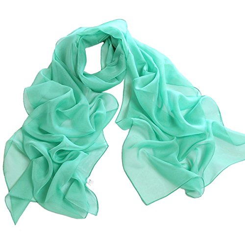 - Fashionable Solid Color Chiffon Scarf - Mint
