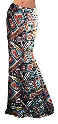 Women Glamorous High Waist Summer Beach Flower Skirt Maxi Skirt Long Skirt(Retro Print), L
