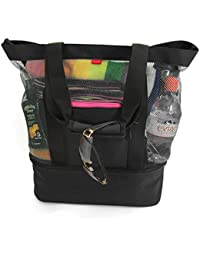 Mesh Beach Bag Tote with Detachable Insulated Cooler Large Zippered High Capacity (Black)