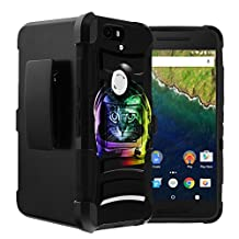 Nexus 6P Holster Case| Google Nexus 6P Case by Untouchble [Heavy Duty Clip] Combat Shockproof Layer Rugged Hybrid Armor [Kickstand] [Swivel Belt Holster Clip] - Space Cat
