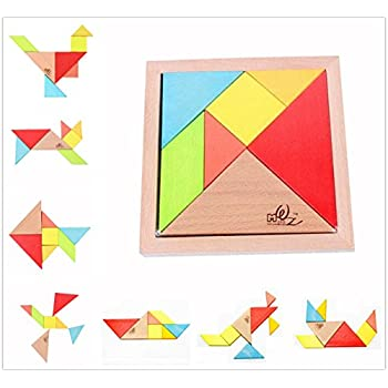 Amazon usatdd wooden tetris puzzle tangram jigsaw brain teasers elloapic 7 piece children kids educational toy colorful wooden brain training geometry intelligence tangram puzzle jigsaw puzzle one small gift ccuart Gallery