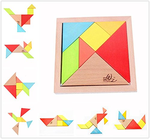 Elloapic 7 Piece Children Kids Educational Toy Colorful Wooden Brain Training Geometry Intelligence Tangram Puzzle Jigsaw Puzzle + one Small Gift -