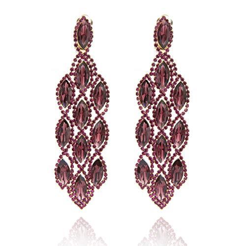 (Women's Filigree Marquise Droplets Cascade Gala Drop Clip On Earrings in Purple )
