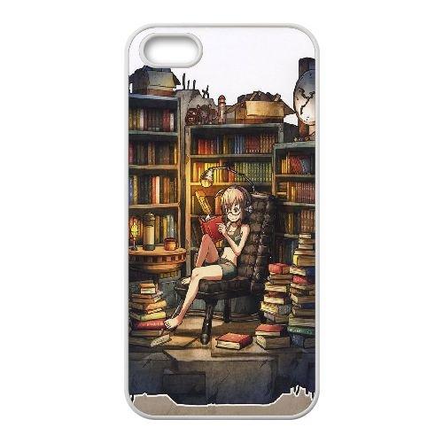 C2U86 fille lisant dans la bibliothèque Q3H2OM coque iPhone 5 5s cellulaire cas de téléphone couvercle coque de WW5JPP4UT blanc