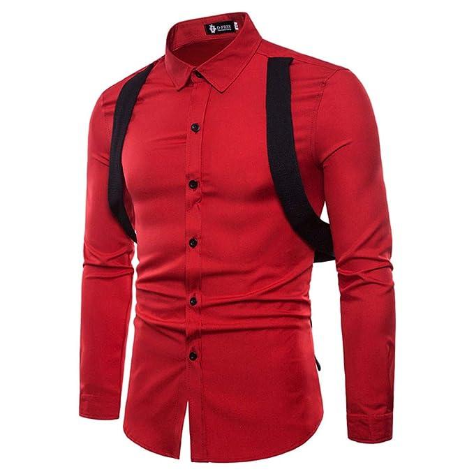 Bestow Hombres de Manga Larga de Oxford Trajes Slim Fit tee Camisas de Vestir Blusa Top