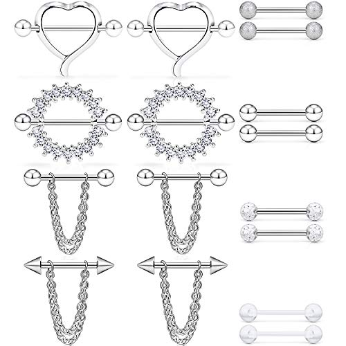 Dyknasz 316L Surgical Steel Chain Dangle Nipple Shield Rings Nipplering Barbell Piercing Jewelry for Women Men 14G 8 Pairs Externally Threaded Ball Spike Silver-Tone Clear Diamond CZ