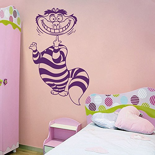 Home Decal Cheshire Cat Alice in Wonderland Wall Sticker Childrens Room Kids Bedroom Living Vinyl Sticker