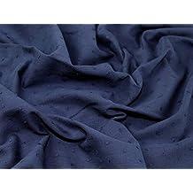 Plain Cotton Swiss Dot Dress Fabric Navy Blue - per metre