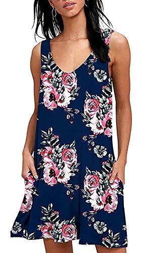 Womens Summer Dresses Juniors Chiffon Sun Dresses Midi Swing Shirt Dress Flower Dress Floral Dresses for Women Navy Size S