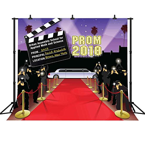 FHZON 10x10ft 2018 Prom Backdrops for Photography Red Carpet Taking Pictures Director Record Board Background Grad Themed Party Wallpaper Decoration Photo Booth Props Mural FH1336