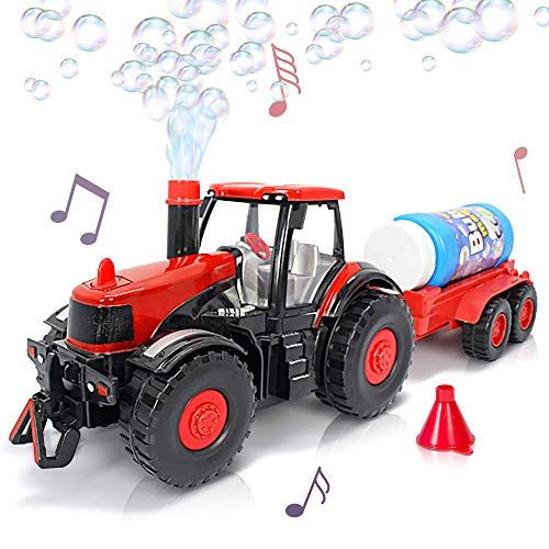 ArtCreativity Bubble Blowing Farm Tractor with Lights and Sound | Main Tractor, Funnel, and Bubble Solution Bottle Included | Battery-Operated Farm Tractor | Best for Ages 3+ (Batteries not Included)