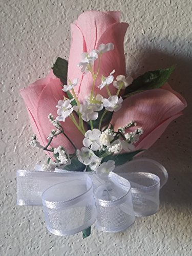 Light Pink Rose Bud Corsage or Boutonniere (Rose Boutonniere Pink)