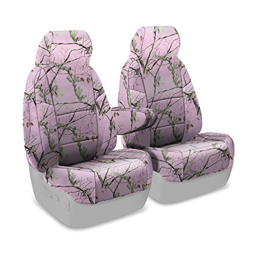 Coverking Front 50/50 Bucket Custom Fit Seat Cover for Select Ford Econoline Models – Neosupreme Camo Real Tree (AP Pink Solid)