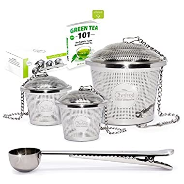 Tea Infuser Set by Chefast (2+1 Pack) - Premium Stainless Steel Strainers for a Superior Loose Leaf Tea Experience - Includes 2x Single Cup Infusers, 1x Large Infuser & Tea Scoop with Bag Clip