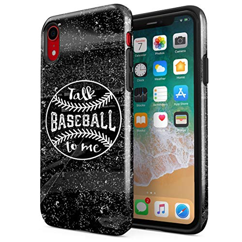 Outdoor Baseball Game Match Talk to Me Sports Quote Double Layer Hard PC Armor & Shock Absorbing TPU Tough Cover Shell for iPhone Xr Case ()