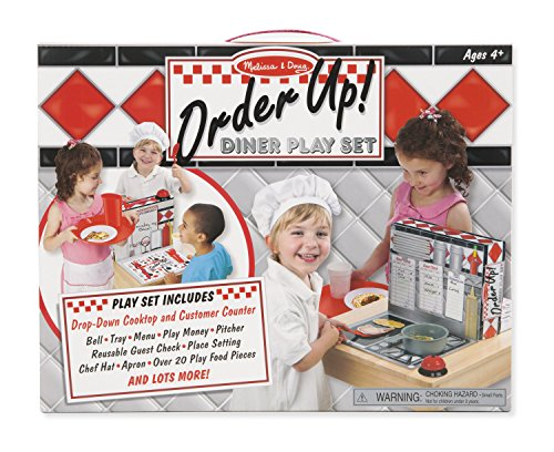 - Melissa & Doug Order Up! Diner Play Set with Play Food - Be Cook, Server, or Customer